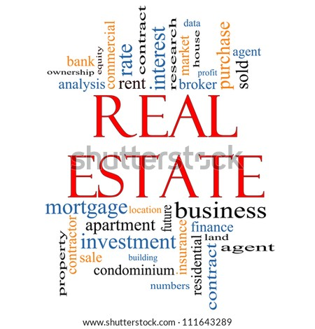 Real Estate Word Cloud Concept with great terms such as broker, investment, location, market and more. - stock photo