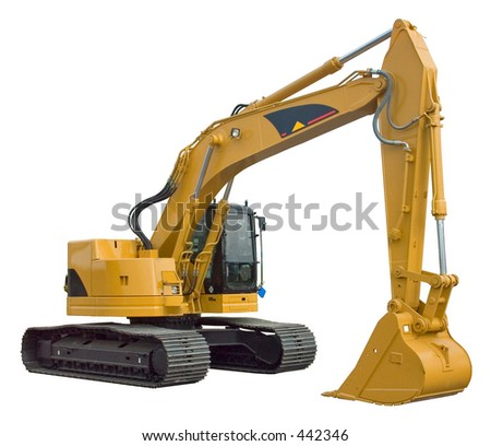 Real Excavator Isolated - stock photo