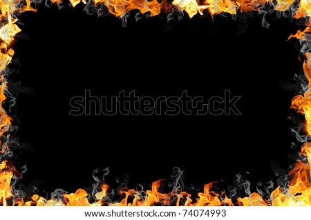 real fire frame - stock photo