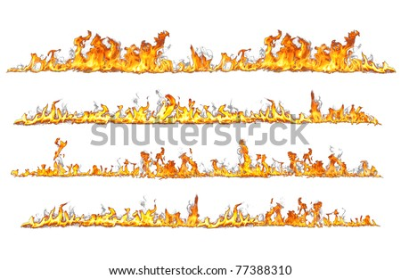 real fire lines isolated on white - stock photo