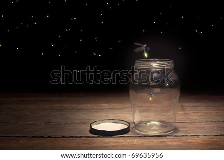 real fireflies in a jar - stock photo