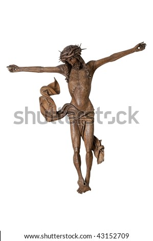 real Ghotic  crucifix  made from wood, Jesus symbol isolated on white