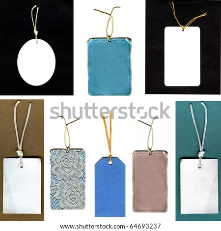 Real Gift Tags On String Set - stock photo