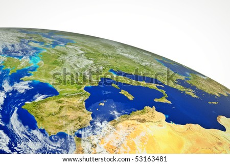 real globe map europe with sea land and mountains