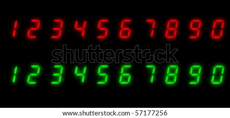 Real glowing LED numbers over black background - stock photo