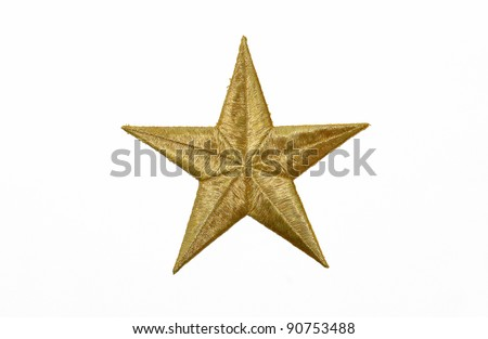 Real Gold Star isolated on white background - stock photo