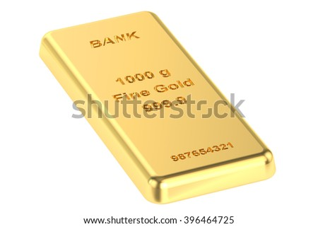 real golden bar, 3D rendering - stock photo