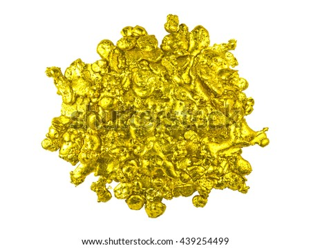 Real golden nugget isolated on white background. - stock photo