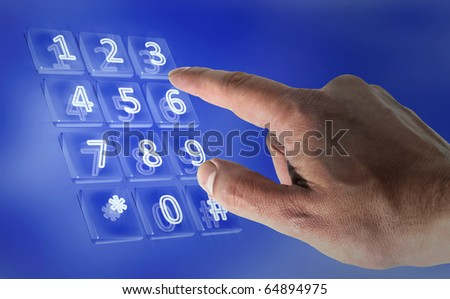 Real hand in a virtual keypad - stock photo
