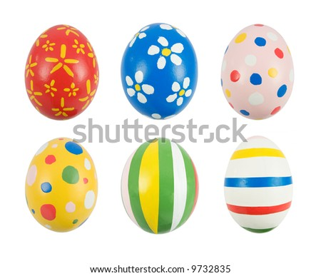 Real hand painted Easter eggs - stock photo