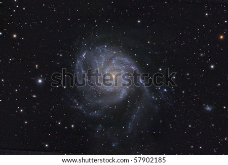 "Real image of M101 ""Pinwheel"" galaxy taken with my 10"" astrograph telescope. - stock photo"