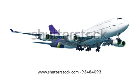Real jet airliner, isolated on white background. - stock photo