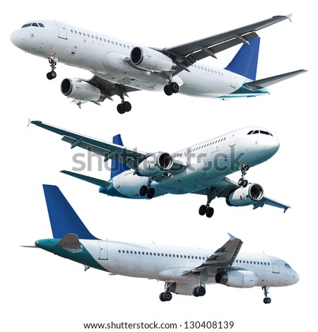 Real jet planes, isolated on white background - stock photo