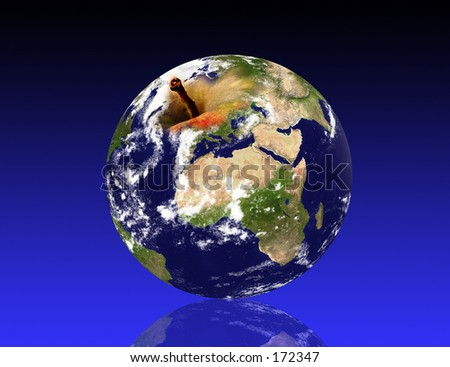 """Real looking Earth planet, """"apple"""" mode. Computer generated. - stock photo"""