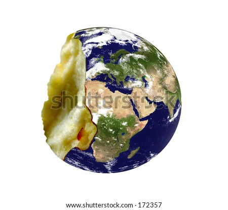 """Real looking Earth planet, """"bitten apple"""" mode, isolated. Computer generated. - stock photo"""