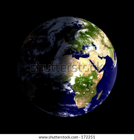 Real looking Earth planet. Day & night, clouded. Globe is accurate and right, like in reality. - stock photo