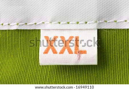 real macro of XXL size clothing label - stock photo