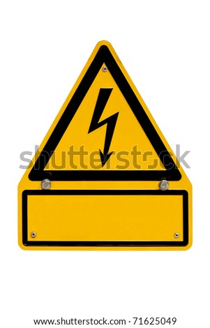 Real metal high voltage danger sign isolated on white with blank copyspace for your message. - stock photo