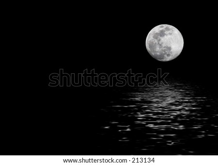 Real moon, digitally added sea of water.