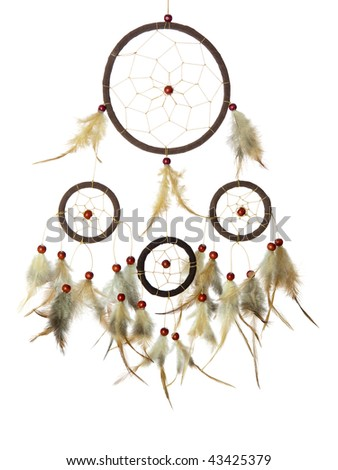 Real native dream catcher on pure white background - stock photo