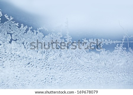 Real natural snow flakes frost for winter background - stock photo