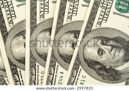 Real one hundred dollars banknote background texture