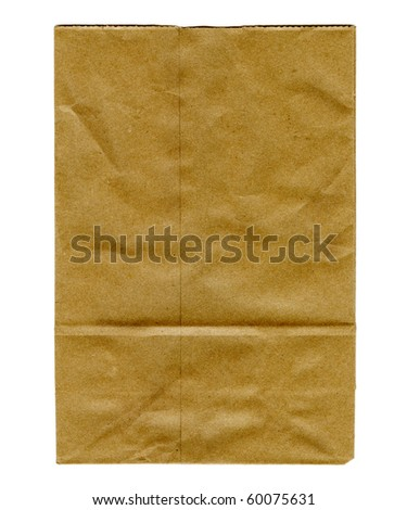 Real Paper Bag Isolated On White - stock photo