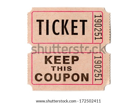 Real paper retro vintage ticket for movies, cinema, raffle event or performance, isolated on white background - stock photo