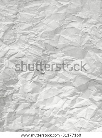 Real Paper Wrinkled And Crumpled - stock photo