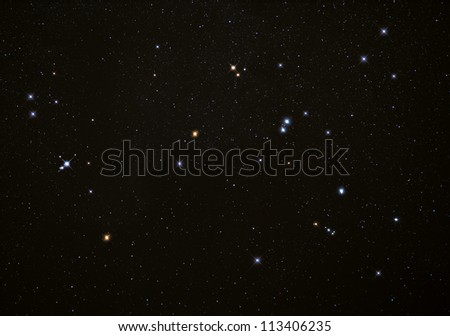 Real photograph of stars in the night sky with bright stars. Ideal as a background. - stock photo