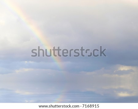 Real rainbow formed during rainfall in the Mediterranean