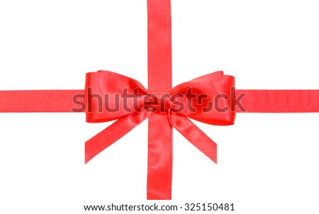 real red bow with vertically cut ends on intersection of two red satin ribbons isolated on white background