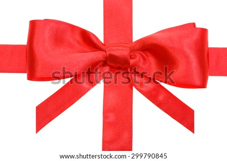 real red satin bow with vertical cut ends on vertical ribbon close up isolated on white background