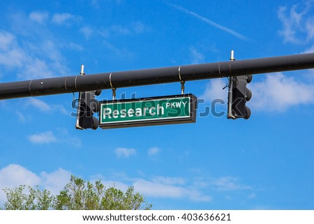 Real Research sign on the street. Street name in Florida. Research - stock photo