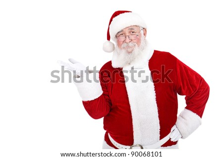 real Santa Claus presenting  product on white background - stock photo
