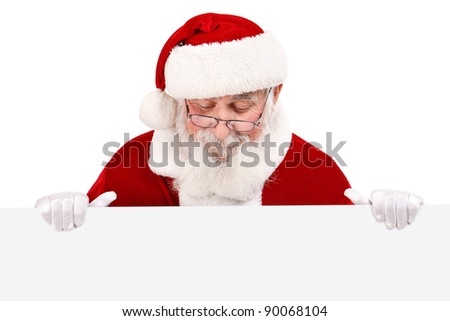 real Santa Claus with gray beard holding blank white banner , isolated on white background - stock photo