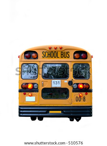 Real School Bus rear with kids inside, with flashing yellow lights to reduce the risk of accidents. Isolated on white. - stock photo