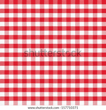 real seamless pattern of red gingham classic tablecloth - stock photo