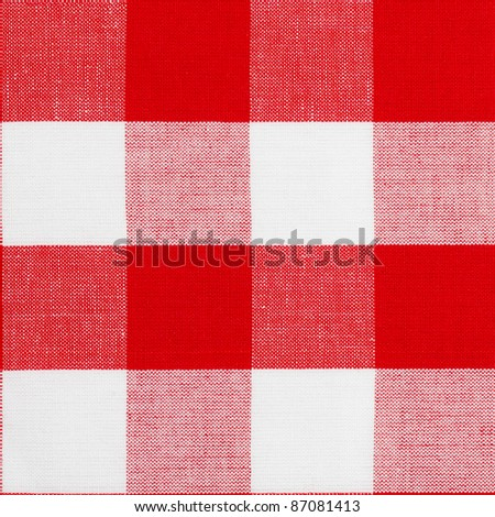 Real seamless pattern of red gingham traditional tablecloth suitable for 3d modeling - stock photo