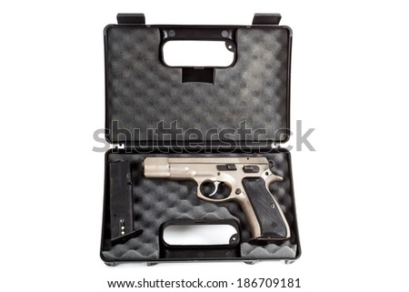 real Semi automatic gun in box isolated on white background - stock photo