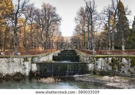 REAL SITIO DE SAN ILDEFONSO - JANUARY 4, 2015: Fountain in The Royal Palace of La Granja de San Ildefonso, Segovia, Spain, on January 4, 2015 - stock photo