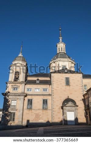 REAL SITIO DE SAN ILDEFONSO - JANUARY 4, 2015: Royal Palace of La Granja de San Ildefonso, Segovia, Spain, on January 4, 2015 - stock photo