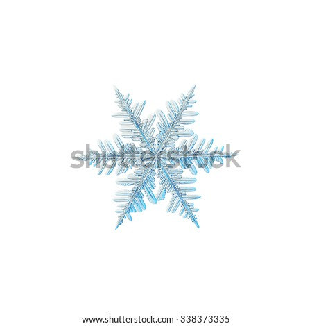 Real snowflake photo (medium size fernlike stellar dendrite), isolated on white background
