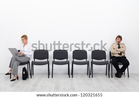 Real social life in the age of social networking - people standing separated - stock photo