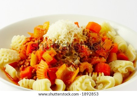 Real spagetti bolognaise - carluccio recipe - stock photo