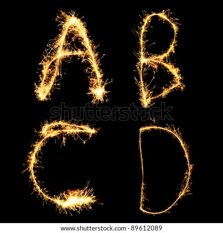 Real Sparkler Alphabet (see other letters in my portfolio). A B C D - stock photo