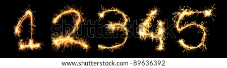 Real Sparkler Digits. See other digits in my portfolio. 1 2 3 4 5 - stock photo