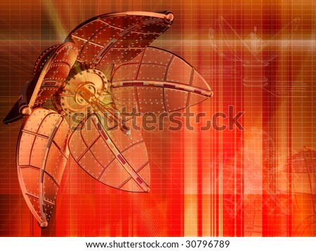 Real streampunk mechanical flower abstrct background