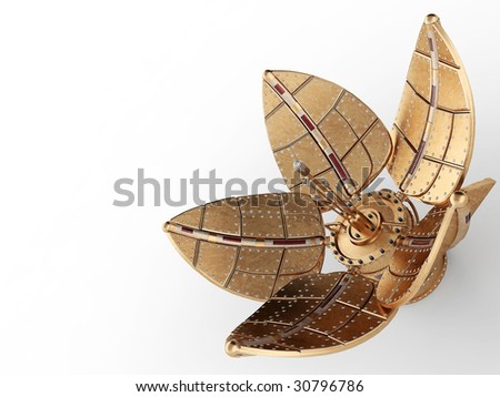 Real streampunk mechanical flower on white background - stock photo