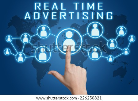 Real Time Advertising concept with hand pressing social icons on blue world map background.